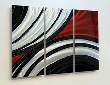 Red & Black 3 Piece Modern Metal Wall Art  Feverish Perception Trois Jon Allen
