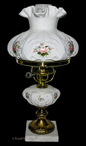 """Fenton """"Hand Painted Roses"""" #9308 Student Lamp LOUISE PIPER"""