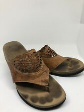 Think! Natural Leather Thong Sandals, Size 6.5 US, 37 EU cut out, boho, hippie