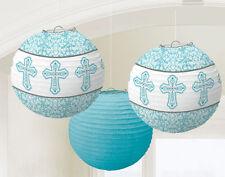 Croix Bleue Papier Lanternes pendant Décorations Baptême Confirmation Communion