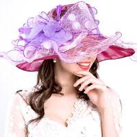 Womens Kentucky Derby Wide Brim Wedding Church Party Occasional Organza Sun Hat