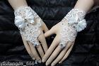 New white/Ivory Luxury Diamond Bow Lace Bridal Gloves Wedding Gloves Fingerless