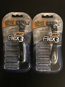 Bic Flex5 Hybrid- 2 Packs Of 1 Handle and 3 Cartridges Brand New, UPC Removed