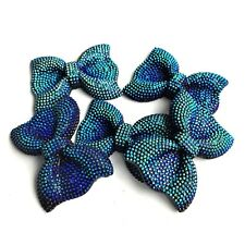 x5 Turquoise Sea Green Sparkle Glitter Bows Charms Dummy Clips