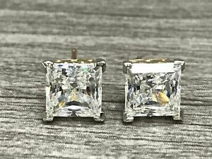 14K Yellow Gold CLear Square Sparkle CZ Studs