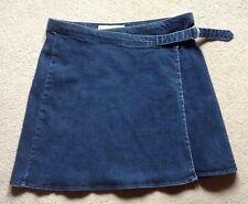 TopShop Moto dark blue denim  wraparound 60s style flared mini skirt small W-30