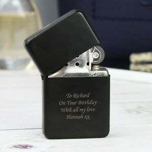 Personalised Black Mens Dad Lighter Birthday Gift For 18th 21st 30th 40th 50th