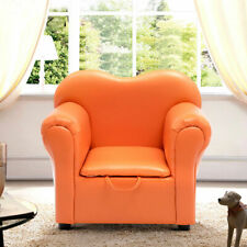Kids Sofa Armrest Chair Couch Children Birthday Gift Furniture W/ Storage Orange