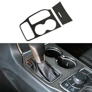 2x Carbon Fiber Style Water Cup Holder Cover Trim For Jeep Grand Cherokee 16-18