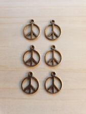 6 x Peace Anhänger Frieden Hoffnung Schmuckzubehör Basteln Charms Kupferfarben