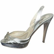 BRIAN ATWOOD Women Silver Shoes Size 38,5 US 8,5 Heels Pumps Sandals Swarovski