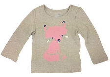 Gap Girl T Shirt Top Pink Fox Grey Size 4 Years
