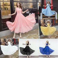 Women's Halter Maxi Chiffon Evening Formal Party Ball Gown Prom Bridesmaid Dress