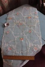 Vintage Swiss Hand Loomed Cotton Voile Embroidery Sample Fabric c1940-50s~Roses