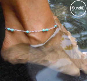 Womens Turquoise Ankle Bracelet Silver Gold Anklet Beaded Foot Chain Beach Beads