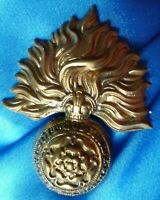 VINTAGE British Army Royal Fusiliers London Cap BRASS Slider Super Original