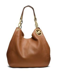 🌞MICHAEL KORS FULTON LUGGAGE GOLD CHAIN LARGE LEATHER SHOULDER TOTE BAG🌺NWT!