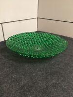 "Vintage Art Deco Emerald Green Pressed Glass Lamp Shade 11-1/4"" In Diameter #34"