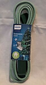 Philips 3 AC 8 Foot Extention Cord Green Braided