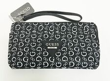 NEW GUESS ONYX BLACK+WHITE PVC,SILVER ZIP WRISTLET,CLUTCH,WALLET,PHONE CASE