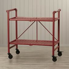 Serving Cart Rolling Outdoor Patio Utility Folding Portable Server Beverage Red