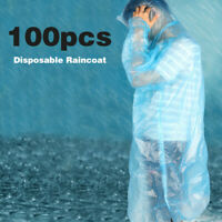 100PC Disposable Adult Emergency Waterproof Rain Coat Poncho Hiking Camping Hood