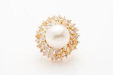 Estate $12,000 13mm South Sea Pearl 4ct VS G Diamond 18k Yellow Gold Ring