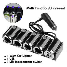 Dual USB 4 Way Car Cigarette Lighter Socket Splitter Power Adapter W/4 Switches