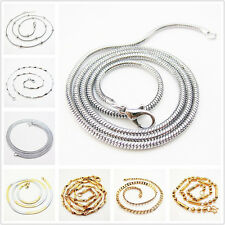 HOT Fashion Silver Gold tone 316L Stainless steel Snake chain Hollow Necklaces