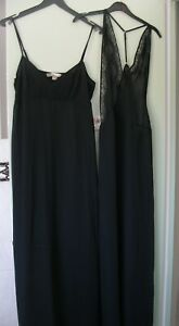 2 x Black Ladies Long Sexy Nightdress Negligee See Through Size 8  -   (Q120)