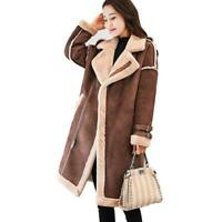 Womens Suede Faux Lamb Fur Lined Mid Long Thicken Outwear Parka Coat Jacket Warm