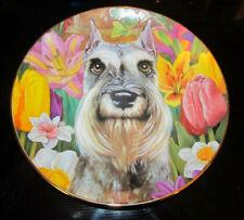 Danbury Mint Miniature Schnauzer Designed Collector Plate Flower Power Dog