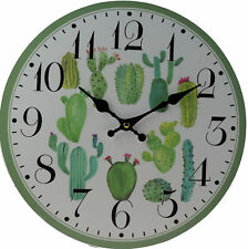 Large 33cm Cactus Plant Wall Clock - Battery Operated
