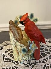 Enesco Imports Figurine Cardinal Bird On Branch Tree Stump Bisque Japan
