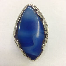 Ring Silver Etched Blue Marbelized Tibetan Ring Size 8