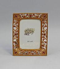 Tisch-Rahmen Metall Blütendekor gold Glassteine 9987197