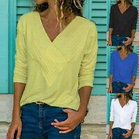 Women Long Sleeve Criss Cross Solid V Neck T Shirt Casual Blouse Basic Lot Tops