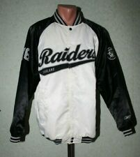 NFL Oakland Raiders Vintage Bomber Jacket Reebok Rare Size L #76 White Black Men