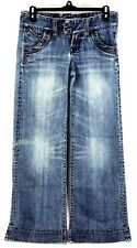 X2 Women's Quality Denim Wide Cut Light Washed Distressed Jeans Size 2 Blue
