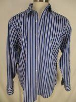 Bugatchi Uomo Classic Fit Mens Blue Stripe Long Sleeve Cotton Shirt L