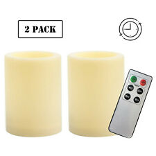 """2 PCS Waterproof Outdoor Battery Flameless LED Pillar Candles with Remote 4""""(H)"""