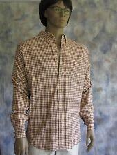 Abercrombie & Fitch Plaid Casual Shirt Sz XL 100% Cotton Burgundy Yellow Beige