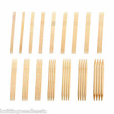 """Double Point Knitting Needles Bamboo  10"""" (~25 cm) Bleached-Complete Set-Knitzy"""