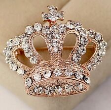 Luxury Queen Crown Brooches Crystal Jewellery  Pin Accessories Gift FREE BOX