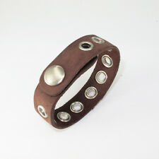 Snap On Buttons Brown Leather Surfer Wristband Silver Studs Bracelet NSW