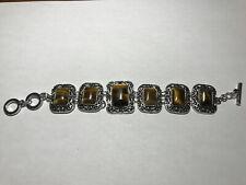 adjustable silvertone toggle bracelet natural tiger eye gemstone rectangles