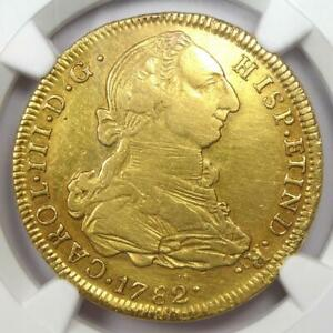 1782 Bolivia Charles III 4 Escudos Gold Coin 4E - Certified NGC XF Details (EF)