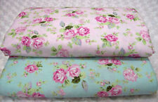 "Cottage Chic Victoria Shabby Pink Roses on Aqua (ONLY)Blue Fabric BTHY~ 60"" wide"