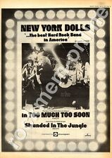 New York Dolls Too Much Too Soon Advert 6/7/74