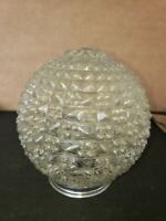 Vintage 1950's - 60's Pressed Diamond Cut Heavy Glass Ceiling Light Shade Globe